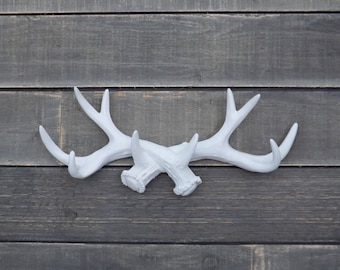 Antler Wall Hook / Bohemian / Woodland Nursery / Deer Antler/ WHITE Antler Hook / Necklace Organizer / Faux Taxidermy