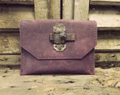 Leatherwork by Anne Meiborg - Purple Leather Clutch with Antique Lock