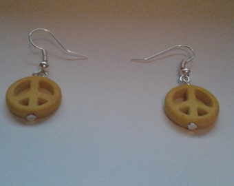 Yellow Peace Sign Earrings
