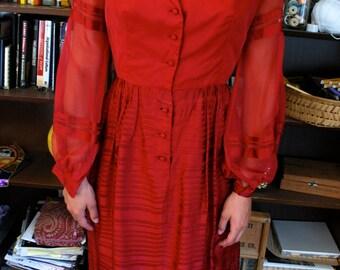 1950's Vintage Burgundy Dress