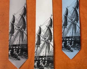 Ship SILK Necktie - Ship Tie - Men's Silk Necktie - Birthday Gift Men - Screenprint - Sailboat - Boat Tie