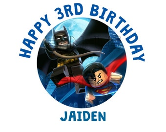 Batman Superman Iron On Birthday Personalized Digital file