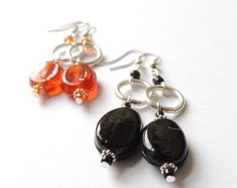 Jelly drop - Oval shaped glass bead earrimgs