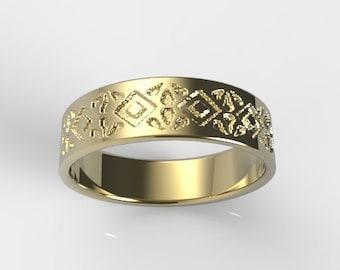 Gold Wedding Ring for Men, Men's Wedding Ring, Gold Ring Men's, Gold Ring Men, Pattern Ring, Patterned Ring, Unique Men's Ring, Men's Band