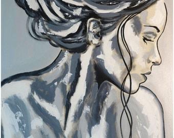 "Portrait XXL  39"" x 59"" in artLigne face art black white original acrylic painting Contemporary Fine Art"
