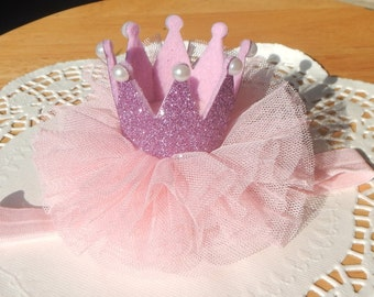 Pink Glitter Crown, Pink Tulle Crown, Princess  Crown, Girl Crown, Baby Crown, Party Crown