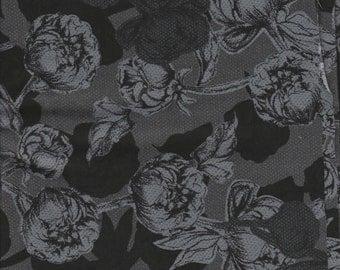 Le Jardin - Per Yd -  P&B Textiles - Rose Tonal Charcoal and Black