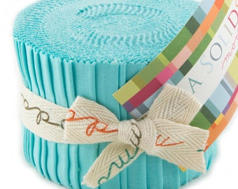 "Bella Solids - Jr Jelly Roll - Moda - (20) 2.5"" Strips - Aqua # 85"