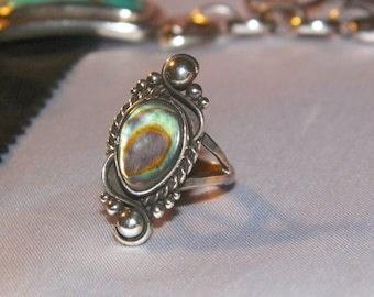 Abalone Shell Ring Set In Sterling Silver
