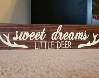 Sweet Dreams Little Deer Nursery Sign, Rustic Nursery Decor, Nursery Sign, Nursery Wall Art, Sweet Dreams Sign, Baby Room Decor