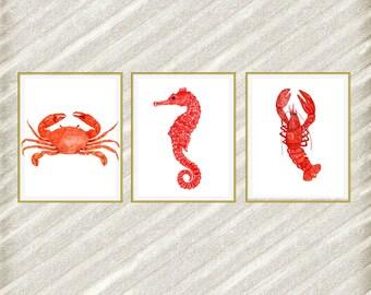 "Nautical digital prints: ""BEACH ANIMALS"" Nautical prints Watercolor animals Crab Seahorse Lobster Restaurant Decor Nautical prints set of 3"