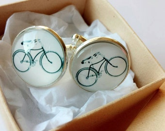 Bicycle Glass Cufflinks - Made to order - Gift Ideas