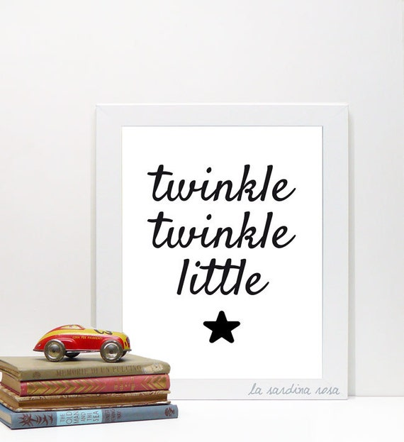 Your Little One Will Love These 8 Gender Neutral Nurseries: Baby Wall Art Nursery Decor Twinkle Little Star Nursery