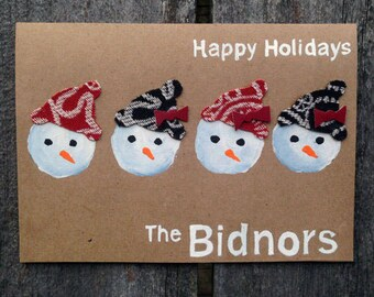 5 Hand Painted Personalized Snowman Cards