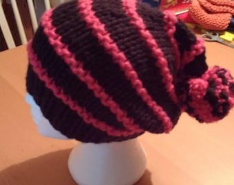 Tuque slouchy black and pink