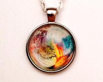 Divergent Tree Pendant Necklace, Antiqued Silver, Fire