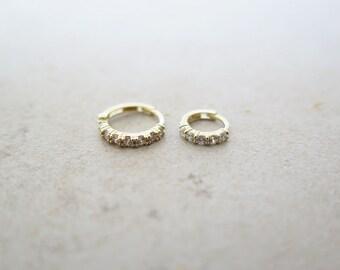 14K Solid Gold piercing/CZ hoop earring/Helix piercing/cartilage earring/Tragus piercing/Rook piercing/Daith piercing/Snug piercing/Hoop
