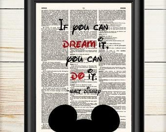 Mickey Mouse Poster, Nursery Print, Disney Art Print, Gift for Kids, 160