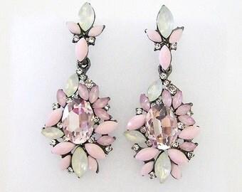 VanGarden GISELLE Crystal Drop Earrings in Pink