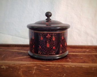 Vintage Round Wooden Box with Lid