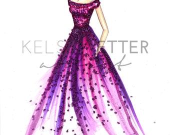 Fashion Illustration-Glittering Gown