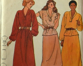 Uncut 1970s Butterick Vintage Sewing Pattern 6666, Size 11/12, 13/14, 15/16; Young Junior Teen Dress, Top and Skirt