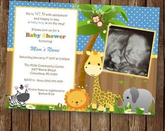 animal baby shower invitation baby animal jungle theme baby boy blue