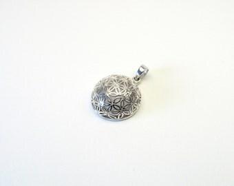 Flower of life pendant hemisphere Silver 925