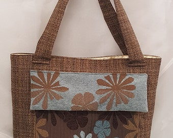 Blue Daisy Print Tote Bag - Upholstery Tote Bag - Tote Bag with pocket