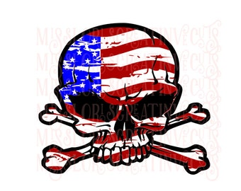 Skull Flag   3 SVG dfx Cut file  Cricut explore file 4th of July t shirt decal scrapbook vinyl decal wood sign t shirt cricut cameo