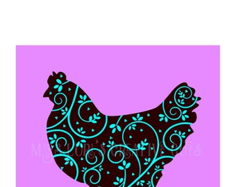 Chicken filigree Fancy swirl   SVG   cut File        decal   animals   dish towels farmscrapbook vinyl decal wood sign t shirt cricut cameo