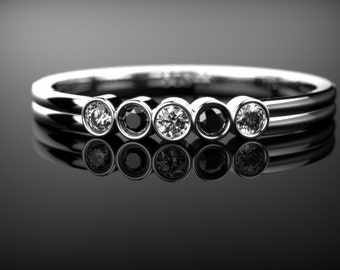 White Gold Black Diamond Engagement Ring Black Diamond Engagement Ring Genuine Black Diamond Ring Black Gemstone