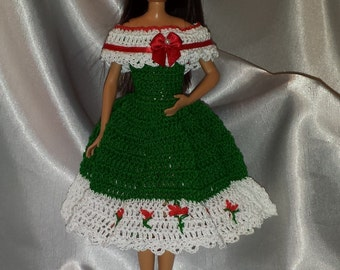 Stacie Clothes, 9 Inch Fashion Doll Clothes, Crocheted Stacie Christmas Dress w/Hat, Stacie Doll Dress. Barbie Dolls