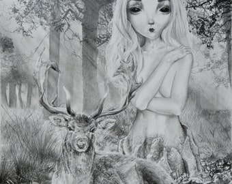 """Original Graphite Pencil Drawing 8""""X10"""" Alien Girl with Stag in Forest with Wooden Frame Pop Surrealism Illustration"""