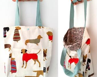 Tote bag, shoulder bag, vegan bag, Handbag, Beach Bag, summer bag, Everyday bag, canvas handbag, canvas tote, dog print bag, colorful bag