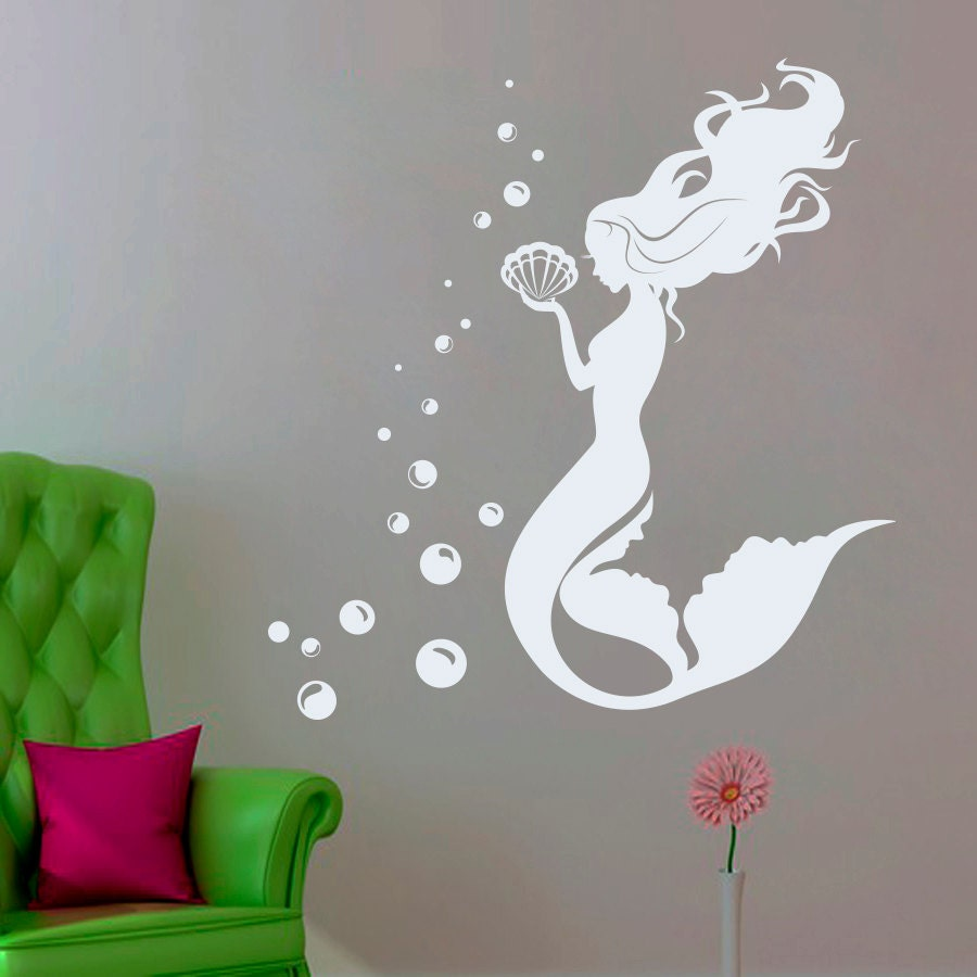 Mermaid Wall Decals Nautical Decals Bathroom Vinyl Stickers
