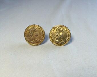 Vintage Elizabeth II D.G. Regina Coin Clip On Earrings, Coin Earrings, Vintage Coin, Vintage Earrings ReasonsBecause