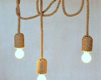 "Jute long chandelier, pendant light, made from sailing rope, 200cm (~80""), 3 light bulbs, nautical, hanging light, beach house, loft, marine"