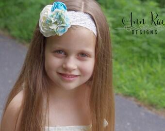 Turquoise Headband Baby Girl Headband Blue Baby Headband Infant Headband Ivory Flower Girl Headband Wedding Headband Ivory Toddler Headband