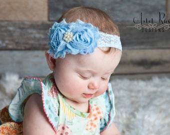 Blue Baby Headband, Newborn Headband Girls Headband Baby Bows Hair Flower Baby Girl Headband Flower Headband Photography Prop Baby Headbands