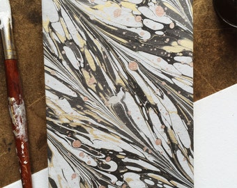 Black & Gold Marbled Journal - Lined