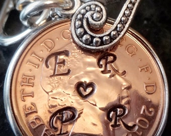 19th lucky penny Wedding Anniversary Gift 1998 Penny personalised with initials love token for girlfriend boyfriend lover marriage 19th