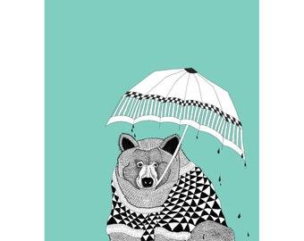 "A3 Download ""BEAR WITH UMBRELLA"" Print Nursery decor illustration kids art print animal set hand drawn hipster"