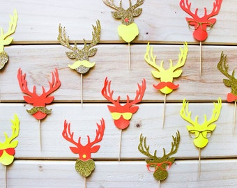 12 Hipster Reindeer Cupcake Toppers // Glitter Cupcake Topper // Neon Topper // Hipster Xmas Party // Reindeer Decor // Christmas Topper