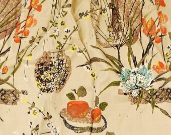 "Vintage 1940's/50's Set (2) of Barkcloth Curtains / Top 40"" Bottom 66"" x 56"" / Oriental Floral / Bark Cloth Fabric / Retro Collectable Rare"