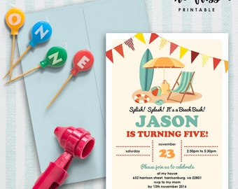 Beach Party Invitation | 5x7 | Editable PDF File | Instant Download | Personalize at home with Adobe Reader