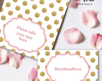 Pink and Gold Food Label | Tents Card | Editable PDF File | Instant Download | Personalize at home with Adobe Reader