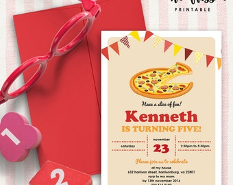 Pizza Party Invitation | 5x7 | Editable PDF File | Instant Download | Personalize at home with Adobe Reader