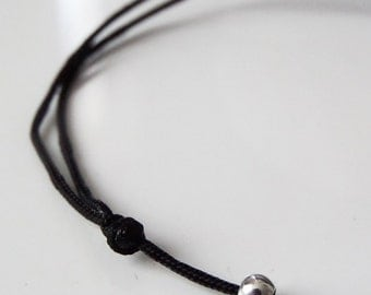 BLACK & a sterling silver round bead bracelet BLACK Buddhist bracelet Thin BLaCK cord bracelet KABbALAH bracelet Lucky traditional cord 2017