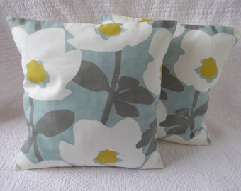 "Cushion Pillow Cover 16"" 40cm Duck Egg Blue Mustard Yellow Grey White Flower Print Handmade to Order"
